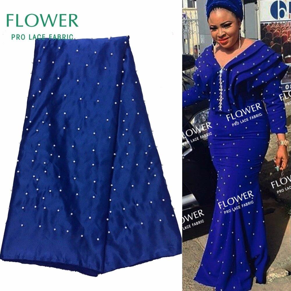 Blue African Satin Lace Fabric Beaded Nigerian Women Evening Dress Designer Fabrics Indian African Satin Fabrics