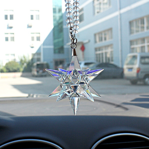 New Car Pendant Hanging Bola Meteor Hammer Glass Color Crystal Ornaments Rearview Mirror Suspension House Home Auto Accessories(China)