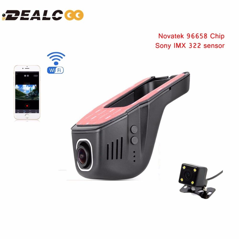imágenes para Dealcoo coche dvr cámara grabadora de vídeo wifi app novatek 96658 imx 322 dvr FHD Registrator Visión Nocturna Dash Cam Dvr de Doble Lente