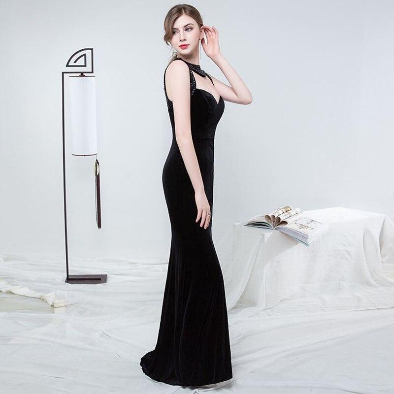Longue Cérémonie 2018 Proms Gratuating De Date Nouveau Velours Pour Vente Parti Z Robe Élégant Femmes Soirées Noir bourgogne Gala A63 Diamants Robes Up v6x0gt