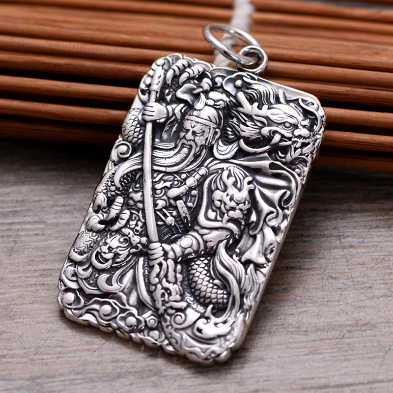 Mantra Guan Gong Pendant For Men Chinese Martial God Of Wealth Carved Six Words Mantra 999 Sterling Silver Jewelry Lucky Amulets 15 chinese folk bronze painted seat general guan gong yu warrior god broadsword dsd66
