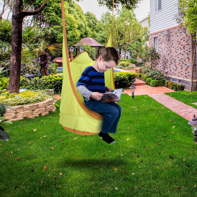 Kids Pod Swing Chair Indoor Outdoor Foldable Double Strap Hanging Hammock  Chair Swing Seat Inflatable Cushion