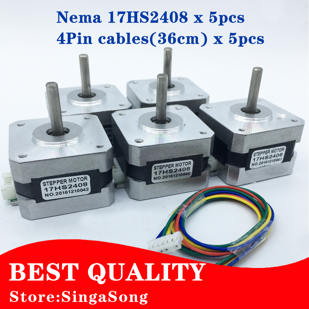 5pcs/lot.Best price and Quality 17HS2408 4-lead Nema 17 Stepper Motor 42 motor 42BYGH 0.6A CE ROSH ISO CNC Laser and 3D printer