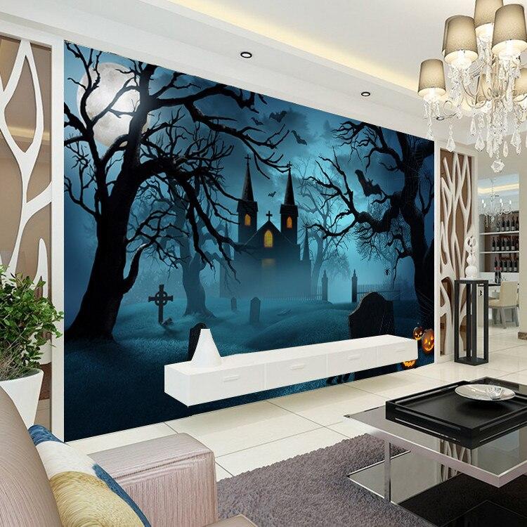 halloween horror photo wallpaper pumpkin lamp wallpaper custom dark wall mural art home decor kids bedroom - Halloween Wall Mural