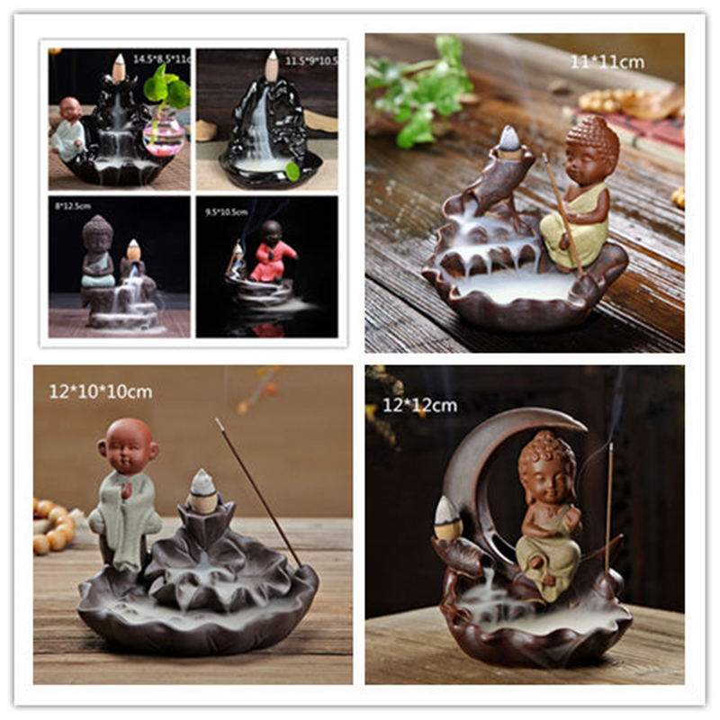 Incense burner small monk small Buddha incense burner ceramic waterfall returning incense burner home decoration various styles