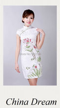Shanghai Story hand-painted evening dress women chinese dress cheongsam chinese traditional dress qipao cotton dresses D0178