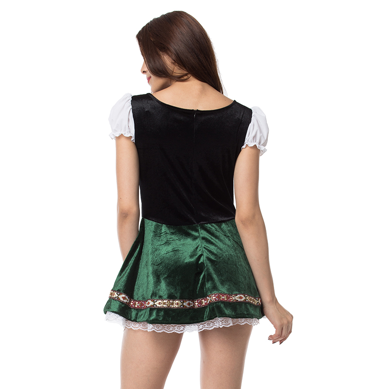 Image 3 - White Green Oktoberfest German Maid Fancy Dress Cosplay Beer Girl Costume Sexy Halloween Costumes For Women Deguisement Adultes-in Sexy Costumes from Novelty & Special Use