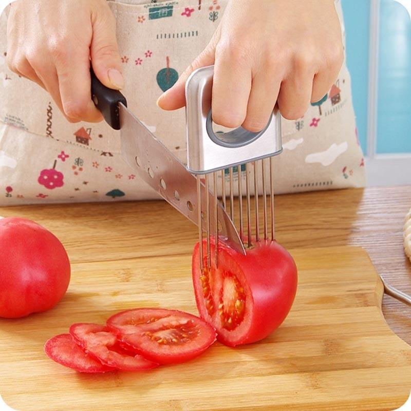 titular de cocina fcil cebolla tomate vegetales slicer cortador utensilios de cocina de acero inoxidable