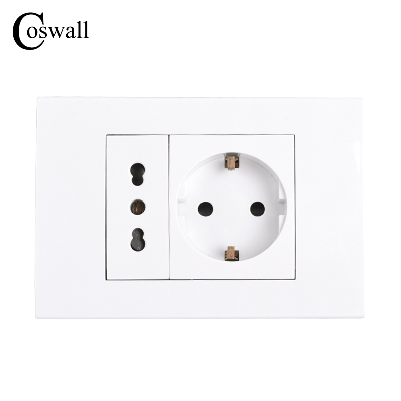 Coswall Italian / Chile Electrical Outlet With 16A EU Standard Wall Power Socket 118mm*80mm AC 100~250V
