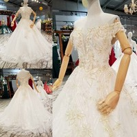 2018 One Shoulder Bride Marry Tailing Princess Dream Luxurious Wedding Dress Full Dress New Pattern Pregnant Woman Thin 65331