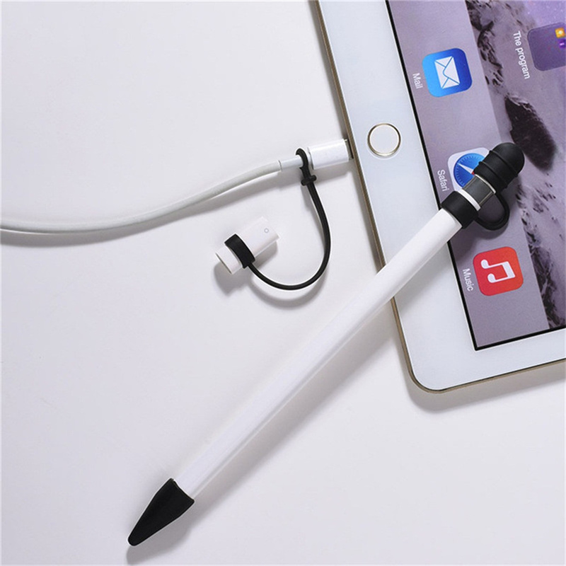 5Colors Silicone Top For Apple <font><b>Pencil</b></font> Cap Holder Nib Tip Cover Cable Adapter Tether Kit For <font><b>iPad</b></font> <font><b>Pro</b></font> <font><b>10.5</b></font> 12.9 9.7 <font><b>Pencil</b></font> Case image