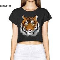 SAMCUSTOM 2017 Fokus Der Tiger Frauen Neue 3d-druck sommer Mode Crop Tops Straße T-shirt Bauchfrei Sexy T-shirt