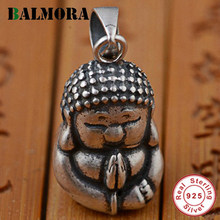BALMORA 100% Real 925 Sterling Silver Jewelry Buddhistic Jewelry Buddha Pendants for Necklaces Men Accessories Gifts SY12358(China)