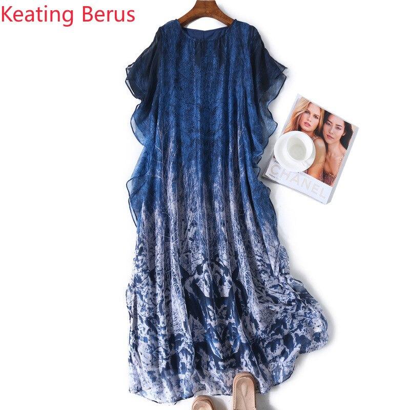 2019 haut de gamme femmes robe en soie lâche col rond ébouriffé imprimé robe en soie dans une longue robe de soirée bon cadeau vestidos 1180