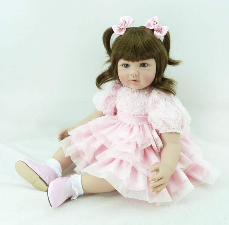 Pursue 24/60 cm Pink Rose Dress Handmade Reborn Babies Toddler Doll Vinyl Silicone Baby Girl Princess Doll for Children Gift handmade chinese ancient doll tang beauty princess pingyang 1 6 bjd dolls 12 jointed doll toy for girl christmas gift brinquedo