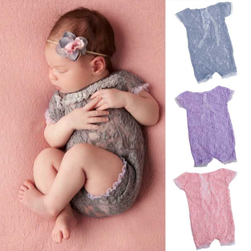 יילוד תינוק בנות טול רקמת תחרה Rompers צילום אבזרי סרבלי #330