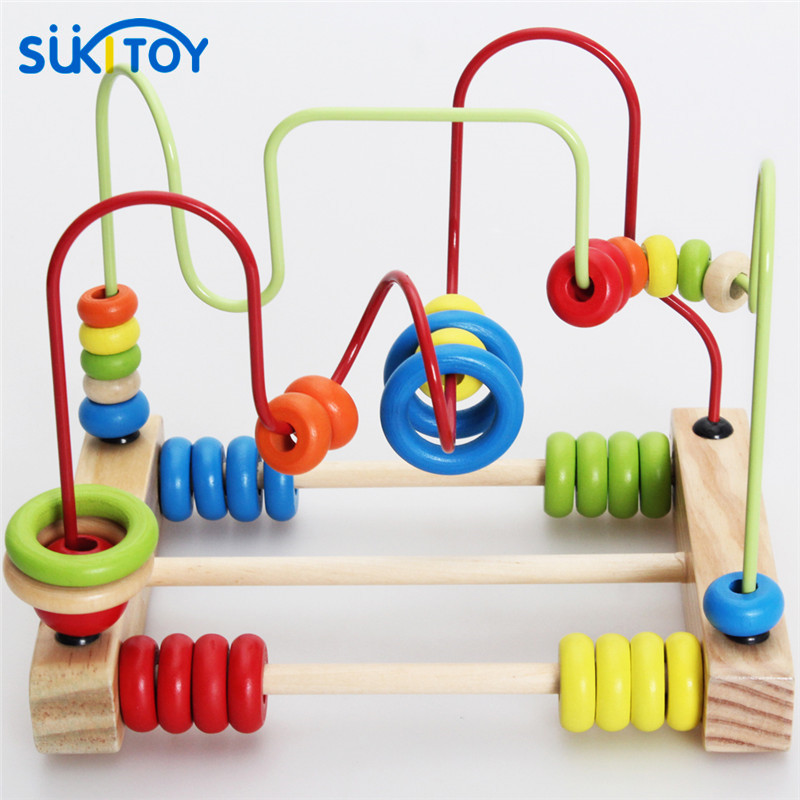 SUKIToy Kid's Classic Soft Montessori Wooden Bead Maze Toy Set with colorful beads early educational toy high quality gift wooden bead maze math toy kids early educational montessori toy baby children bead rollercoaster round wire maze puzzle toy gift