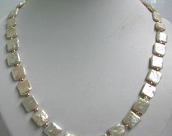 Бесплатная доставка 11,22 10 мм белый квадратный пресноводный жемчуг ожерелье