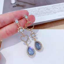 Korean Fashion Rhinestone Heart Moon Long Drop Earrings For Women 2019 New Elegant Sweet Earrings Jewlery a suit of graceful rhinestone moon necklace and earrings for women