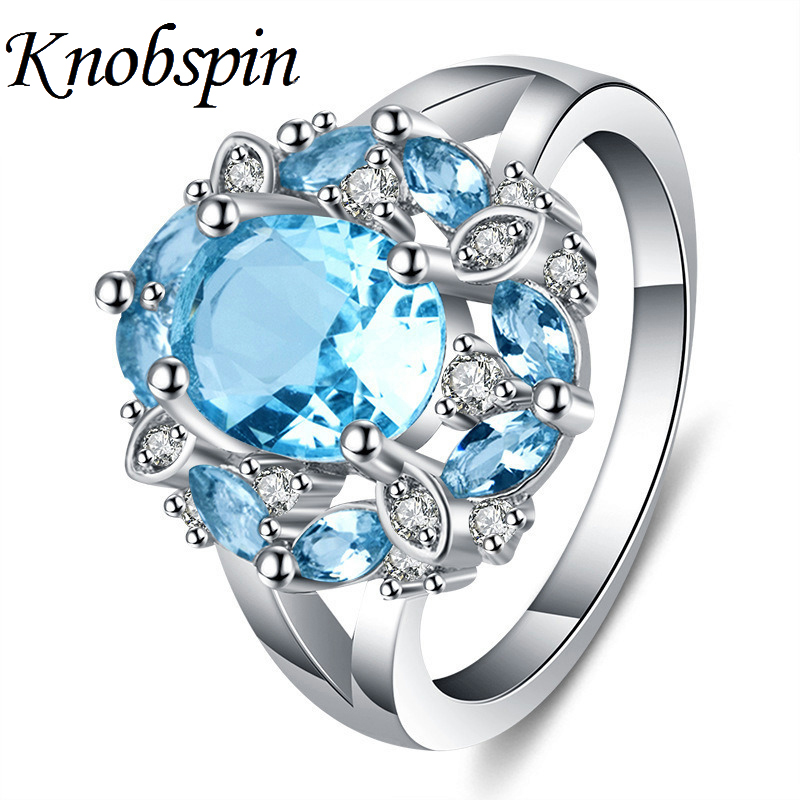 Luxury RedBlue Crystal Zircon Ring Plated Silver Color Charming Flower Women Rings with Big Stone Fashion Women Accessories