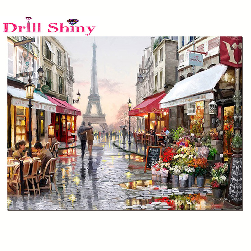 Full 3D DIY diamant målning Paris City Street Cross Stitch landskap söta älskling kit Diamond Broderi mosaik landskap dekor
