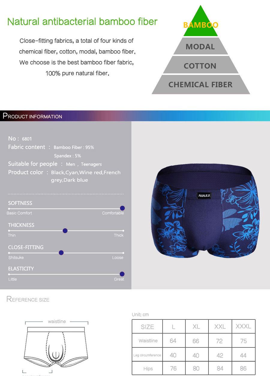 Bamboo Fibre Mens Underwear Boxer Shorts 48