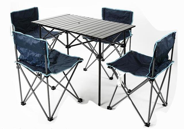 Folding Table And Chair Set Booster Or High 5pcs Outdoor Portable Camping Picnic Sets Desk Chairs In Bag