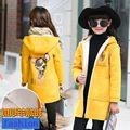 2 3 4 6 8 años niñas chaqueta de lana niños de dibujos animados de invierno y otoño outwear larga con capucha de la moda para las niñas A22
