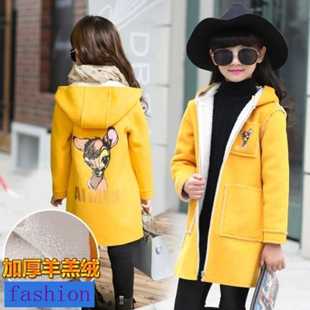 2 3 4 6 8 years girls fleece jacket kids cartoon winter and autumn  outwear long fashion hoody for girls A22