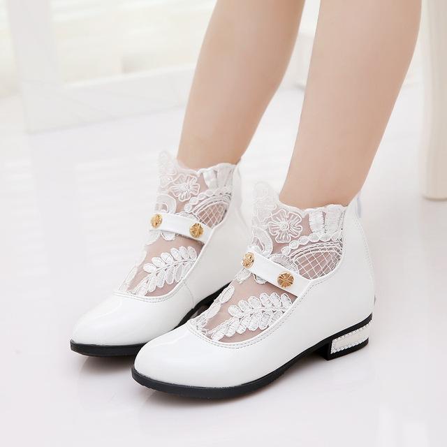 Niños zapatos de la princesa de las muchachas 2017 de primavera blanca del borde del cordón de los nuevos zapatos de fiesta de cuero transpirable de cuero fashion girls pink s