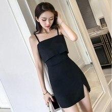 b580b719 Jolly Soul Korean style women sexy club spaghetti strap side split slim  mini dress