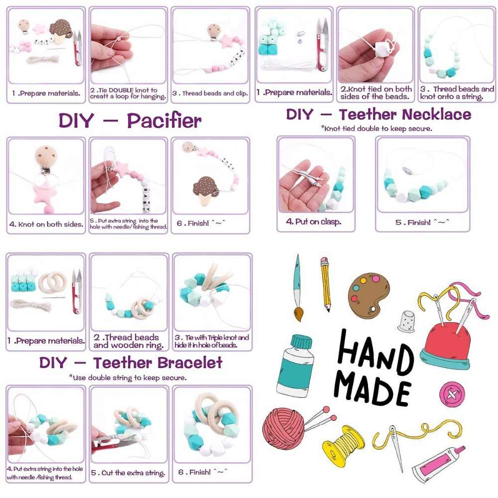 Rabbit Flower Unicorn Play Gym Toys Wooden Teething Beads Silicone Teether Toys