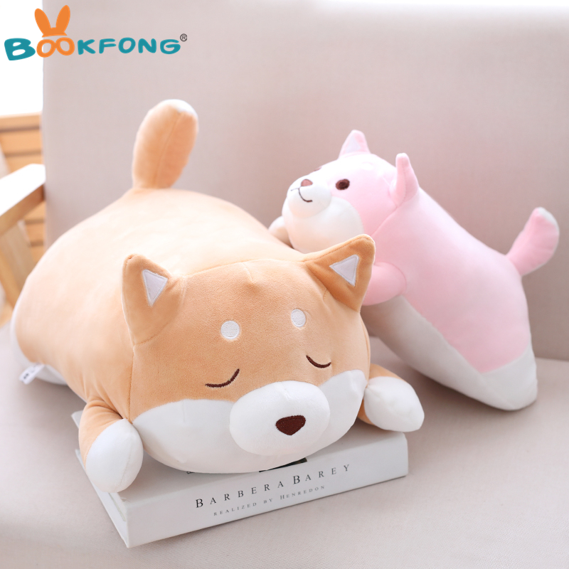 55cm Cute Fat Shiba Inu Dog Plush Toy Soft Stuffed Cartoon Animal Toys Lovely Kids Baby Children Birthday Gift Dolls 68cm kawaii bull terrier dog plush kids toy emoji sleeping pillow toy cute soft baby toys stuffed dolls for children girl gifts