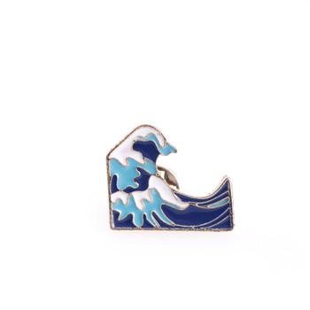 Pin Badge Jewelry Gift Cartoon Blue Waves Pins Brooch Pins Childlike Button Glaze Pin Denim Jacket image