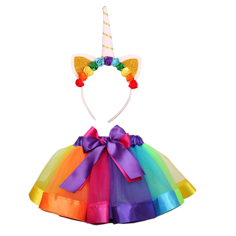 Rainbow horse girls ballet costumes skirt birthday party  Rainbow horse costume cosplay dance dress up