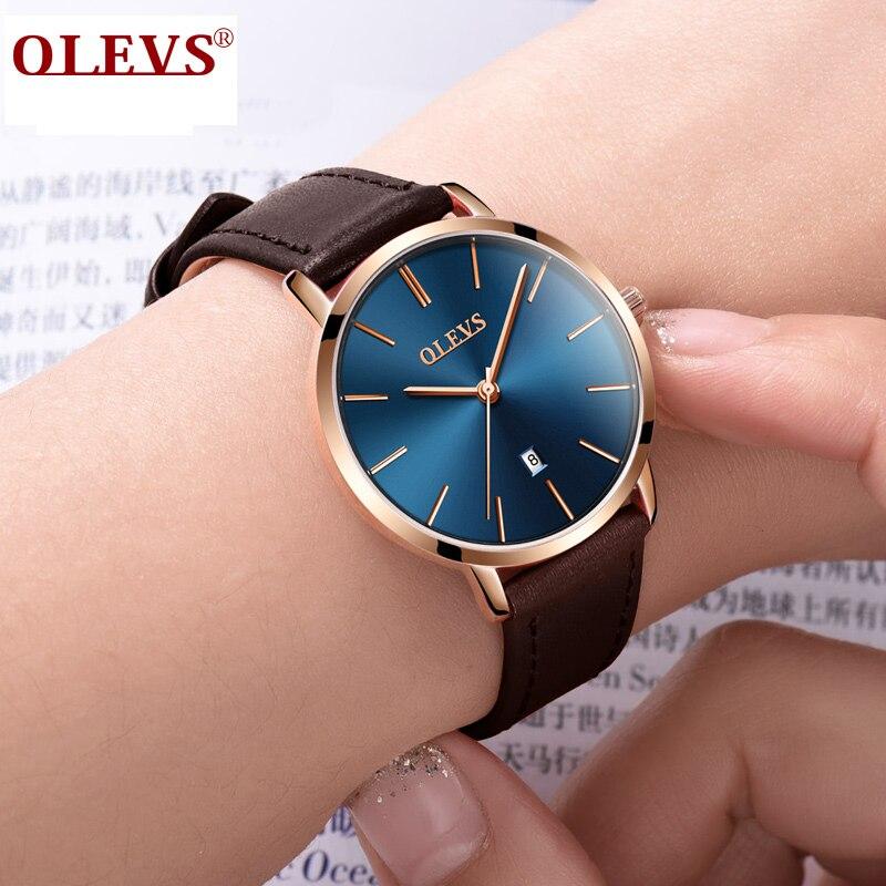 60ab17d4fe0 Mulheres Relógios genuíno ultra fino relógio À Material das Caixas e  Estojos   Couro
