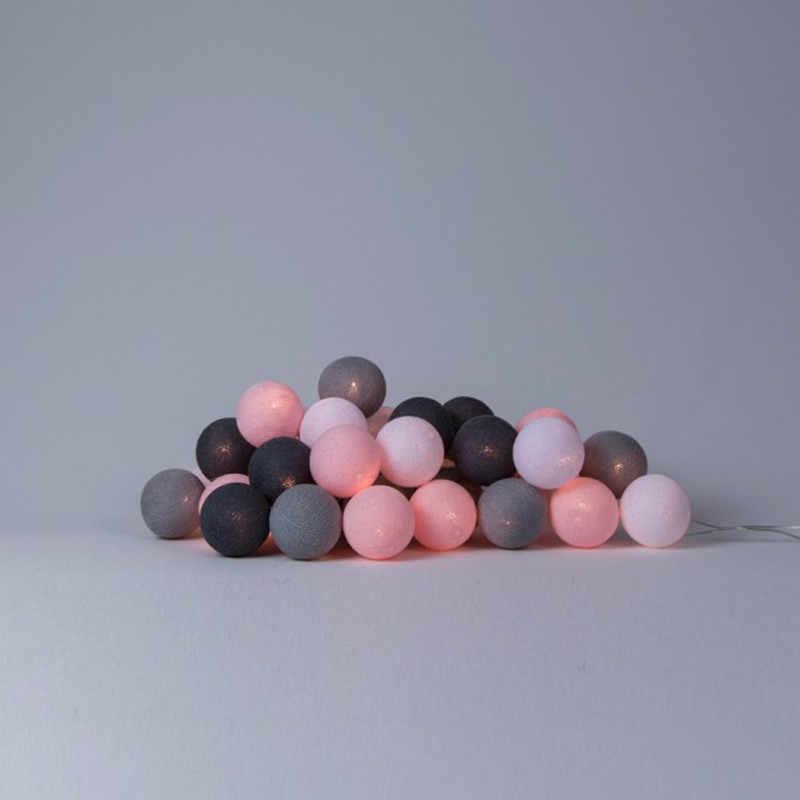 Розово-серый тон микс ручной работы хлопковый шар гирлянда вечерние гирлянды домашний патио Свадебный романтический декор гирлянда на батарейках