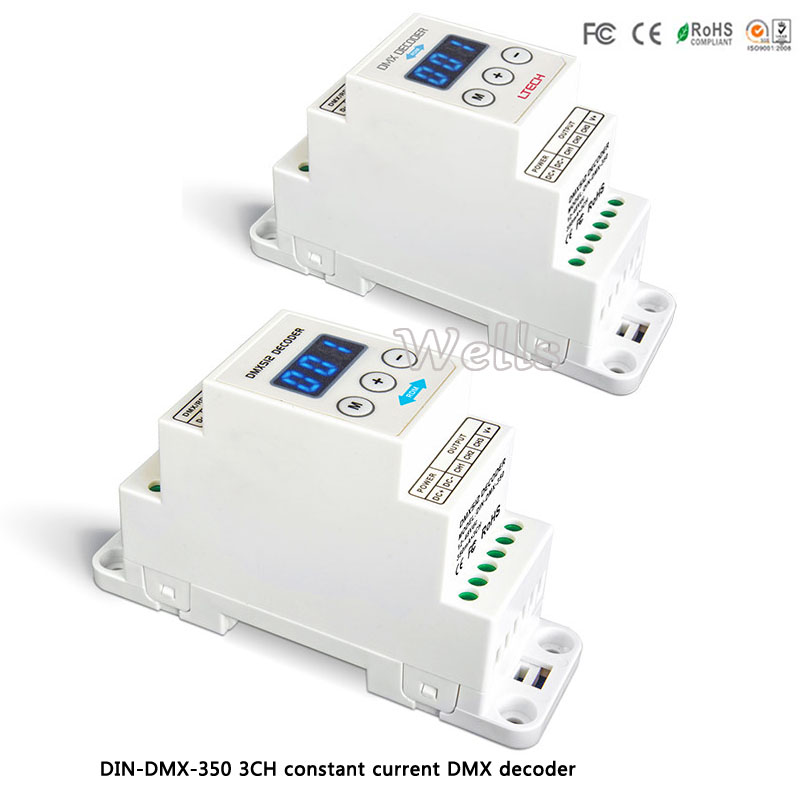 LTECH led  DMX controller DIN-DMX-350 3CH constant current DMX/RDM Decoder;DC12-48V input;350mA CC*3CH output dmx512 digital display 24ch dmx address controller dc5v 24v each ch max 3a 8 groups rgb controller