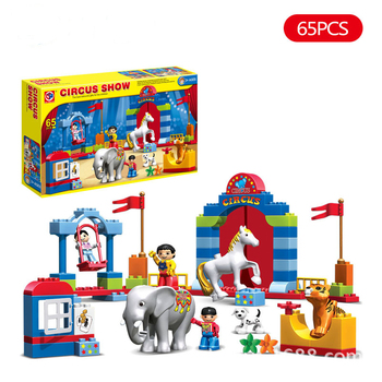 65pcs Duplo Large particles Circus Show Building Blocks Classic Educational Bricks Toys For Children Original Box 50pcs large particles numbers train building blocks bricks educational babycity toys compatible with duplo diy