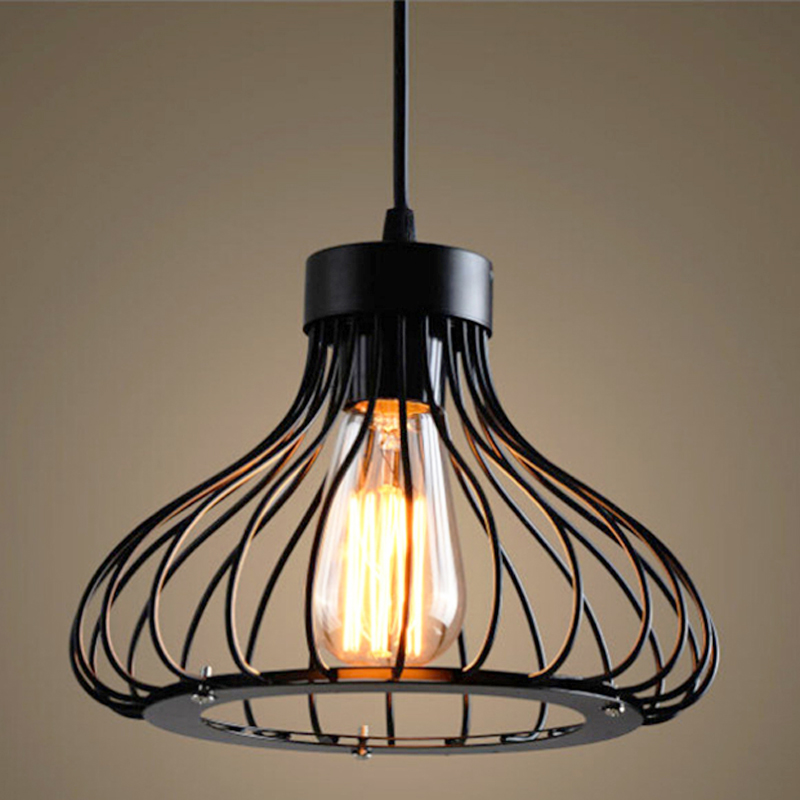Vintage Loft Pendant Light Nordic Restaurant Dining Room Home Deco Hang Lamp Retro Industrial Wind Birdcage E27 Pendant Lamp|pendant lighting for restaurants|lighting for restaurants|pendant lights - title=