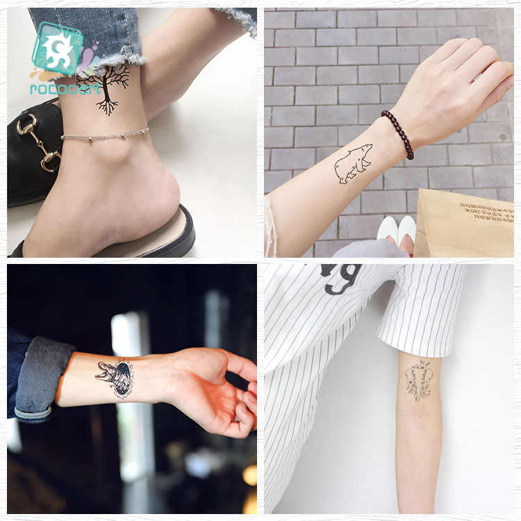 Rocooart siyah beyaz stil dövme etiket ağacı Taty çiçek geçici dövme etiket vücut sanatı için Tatouage kurt uzay sahte dövme