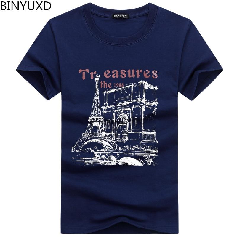 BINYUXD Discount new fashion summer   t     shirt   men o-neck cotton comfortable   t  -  shirt   Casual tshirt homme Short sleeve Printing