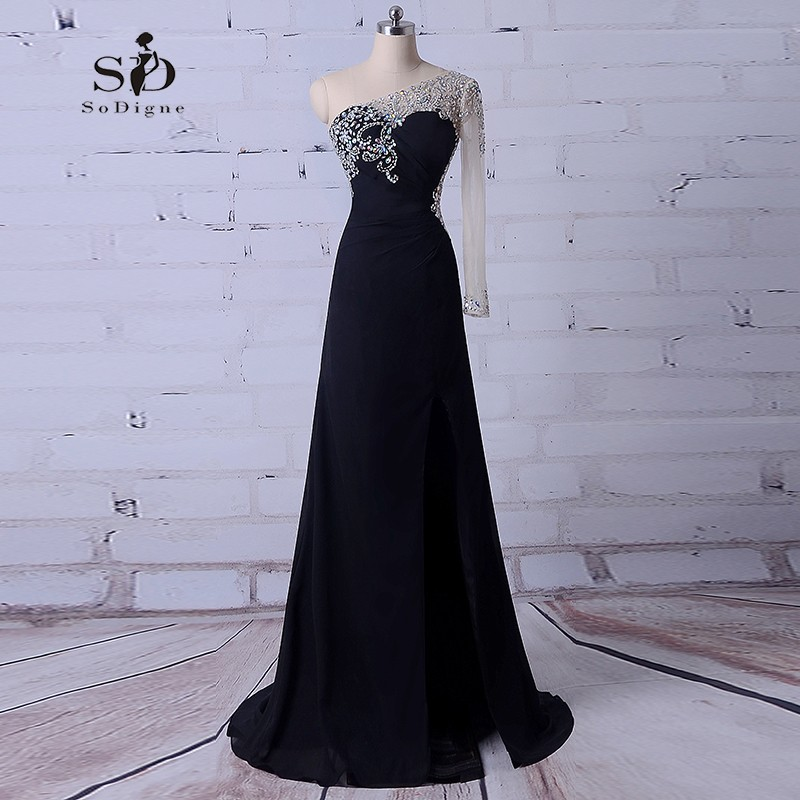 Robe De Soiree 2018 Elegant Long Sleeve Evening Dresses Crystals ...