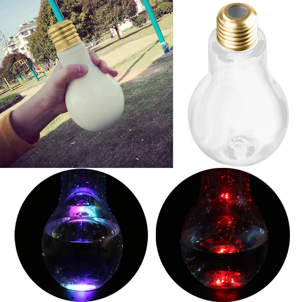 LED Glowing Bulb Water Bottle Brief Cute Milk Juice Light Bulbs Cup Leak-proof plastic D ...