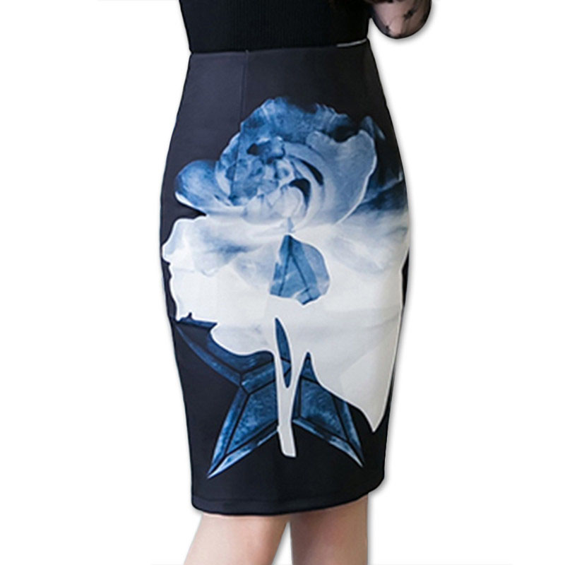 2017 New Womens Casual Skirts Plus Size 5XL Summer Female Pencil Knee-Length Midi Skirts Saia Bodycon print D0257