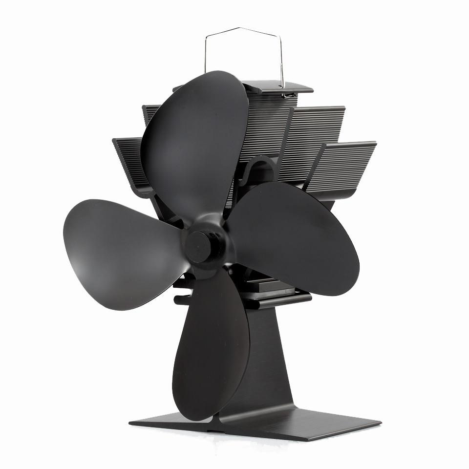 ФОТО Mini Wood Burning Stove Fan 4-Blade Anodizing Aluminum Black Eco-Friendly Stove Fan