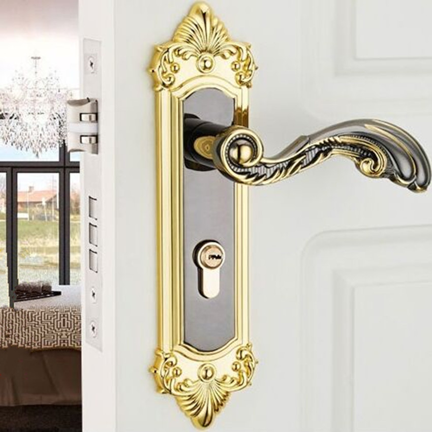 Modern fashion gold room black interior door lock retro bedroom, bathroom, study solid wood door lock ivory white door lock european style retro quiet mechanical interior door lock ivory white bedroom study kitchen bathroom solid wood door lock handle