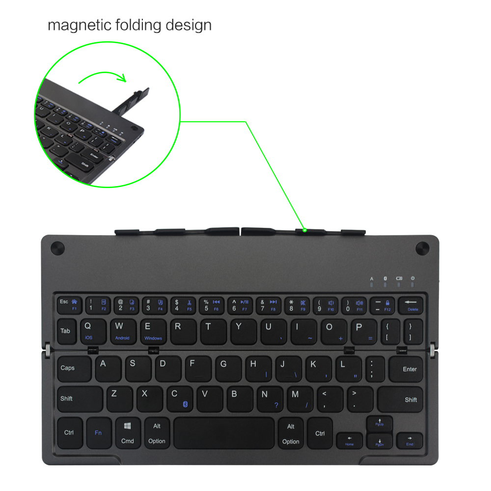 Ultrafino plegable Bluetooth teclado inalámbrico portátil plegable teclado batería de litio recargable para iPad Tablet - 4