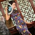 Blue Chinese Traditional Women's Flower 100% Silk Handmade Long Cheong-sam Dress S M L XL XXL