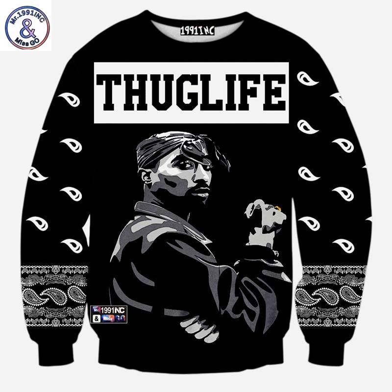 Mr.1991inc Europe And America Fashion Men's Hip Hop Hoodies Print Rapper 2pac Tupac 3d Sweatshirt Thuglife Hoodies